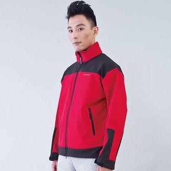 TECL-WOOD《96612》防風防水軟殼外套附連帽-紅/黑色)