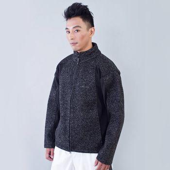 TECL-WOOD《96234》粗針羊毛防風防水軟殼男外套(深灰)