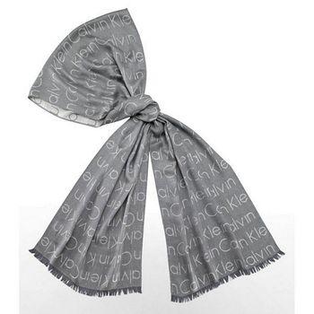 CK 男ck印花圖案提花淺灰色圍巾