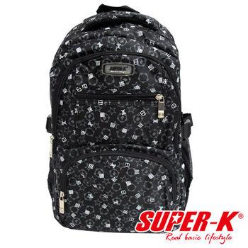 美國品牌【SUPER-K】潮流漢字後背包SHB21507-黑、紫