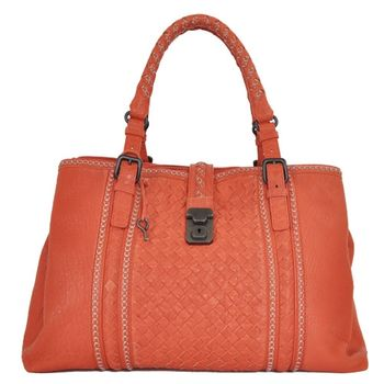 BOTTEGA VENETA小羊皮編織三層拉鍊手提包(橘)