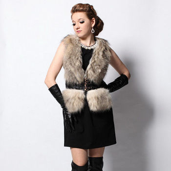 IKON 風華時尚貉子毛+小羊皮背心