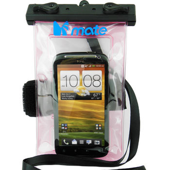 MATE 玩樂雙魚防水型手機袋-粉透明