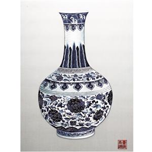 財源廣進-圓型瓶蘇繡版畫