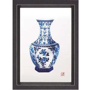 萬事如意-六角瓶蘇繡版畫