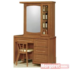 【Margaret】古韻典雅3.5尺實木化妝台+椅