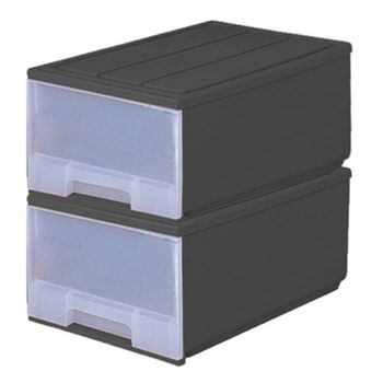 【收納達人】抽屜式整理箱(50L)-2入-黑色