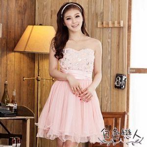 【白色戀人中大尺碼】粉色宮廷玫瑰蕾絲網紗平口小禮服 JK-0211
