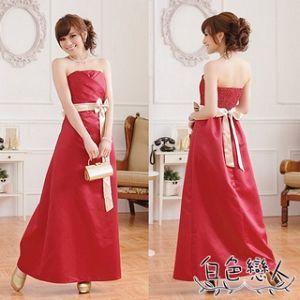 【白色戀人中大尺碼】玫瑰紅優雅高貴壓褶收腰長版晚禮服JK-0613