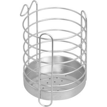 《收納達人》皇家拿鐵圓型不鏽鋼筷匙餐具收納籃