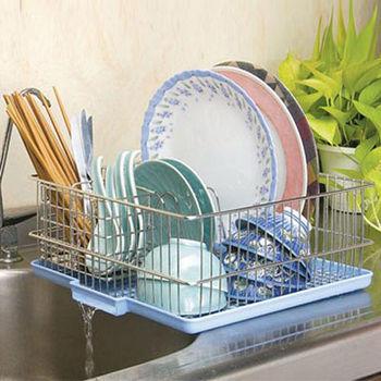 【收納達人】不鏽鋼流理台碗盤滴水(瀝水)籃