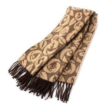 YSL 聖羅蘭 幾何玫瑰LOGO羊毛披肩(咖啡)989208-6