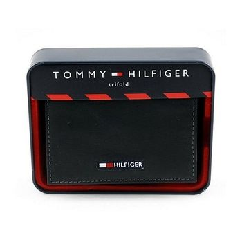 Tommy Hilfiger 2013男時尚Logo三折黑色皮夾