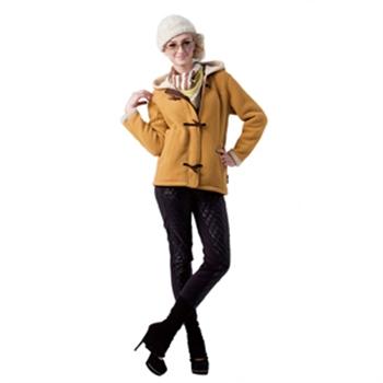 【JORDON 橋登】女款珍珠刷毛牛角扣外套(732 黃色)_網