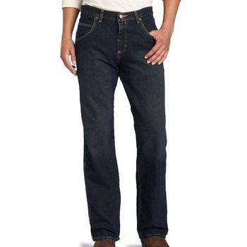 Wrangler 藍哥男耐磨寬鬆舒適黑藍色牛仔褲