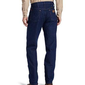 Wrangler 藍哥男經典原創設計深中藍色牛仔褲