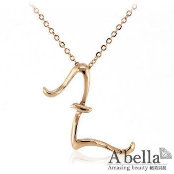 A'bella【字言字語】字母白鋼墬鍊(玫瑰金Z)