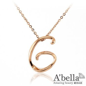 A'bella【字言字語】字母白鋼墬鍊(玫瑰金G)