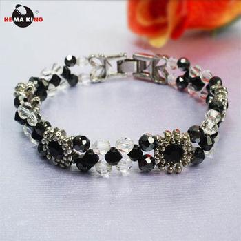 【HEMA KING】磁性黑膽玻璃珠手鍊-繽紛黑