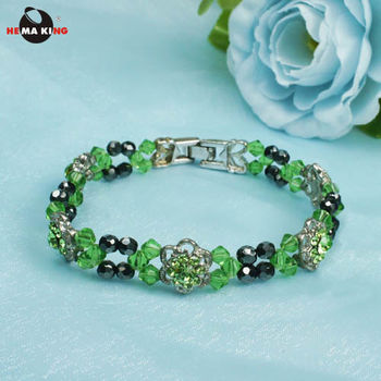 【HEMA KING】磁性黑膽玻璃珠手鍊-花草綠