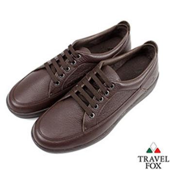 Travel Fox(男)★圓融紳士軟皮沖孔休閒鞋-素咖
