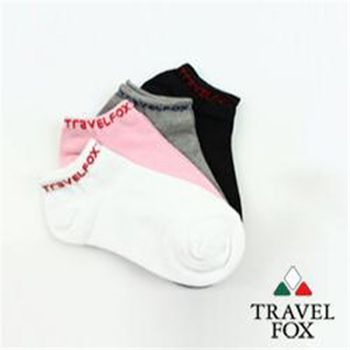 【TravelFox】(女)簡單系LOGO彈力船形裸短襪組1組4雙