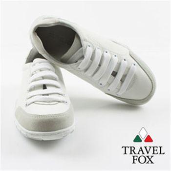 Travel Fox(女) 夢想的白色拼皮運動鞋-軟軟白