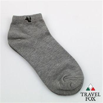 【Travel Fox】(男) 素面點睛小狐狸休閒短襪 (灰)