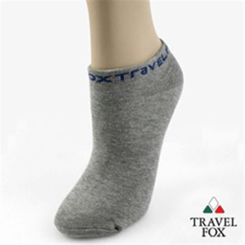 【Travel Fox】(女) 簡單系LOGO彈力船形裸短襪-灰