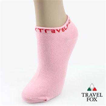 【Travel Fox】(女) 簡單系LOGO彈力船形裸短襪-粉