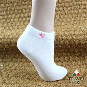 【Travel Fox】(女) 粉彩小狐狸休閒裸短襪 - 白板白