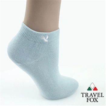 【Travel Fox】(女) 粉彩小狐狸休閒裸短襪 - 粉筆藍