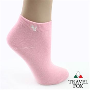 【Travel Fox】(女) 粉彩小狐狸休閒裸短襪 - 嫩粉紅