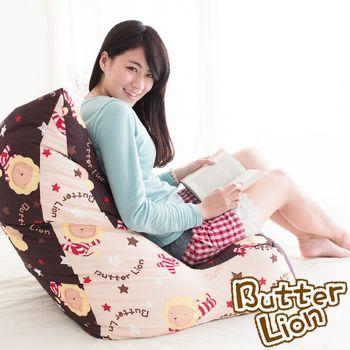 【奶油獅】《台灣製造》抬腿縮腹-搖滾星星全保麗龍球懶骨頭沙發椅