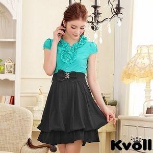 【KVOLL中大尺碼】湖藍色撞色V領燈籠連衣裙JK-0619