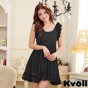 【KVOLL中大尺碼】黑色荷葉公主袖收腰連衣裙 JK-0317