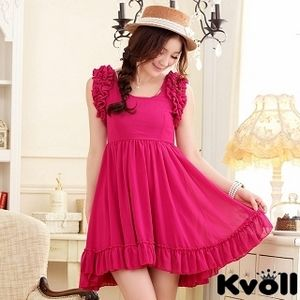 【KVOLL中大尺碼】玫紅色荷葉公主袖收腰連衣裙 JK-0317
