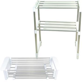 《超值2入》不鏽鋼多功能伸縮置物架+瀝水籃超值組