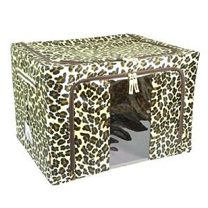 【時尚大師】豹紋雙開折疊收納箱(66公升)3入超值組
