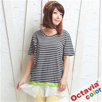 【OCTAVIA COLOR】童心趣三截跳色拼接短袖T恤-黑白綠