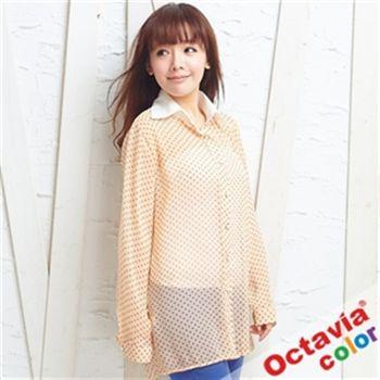 【OCTAVIA COLOR】白領女孩點點珍珠雪紡襯衫-點點粉