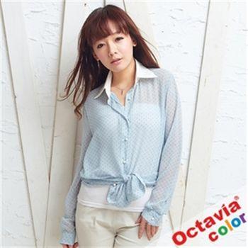 【OCTAVIA COLOR】白領女孩點點珍珠雪紡襯衫-點點藍