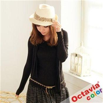 【Octavia Color】愛自己超手感百搭質感長袖上衣-細黑