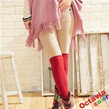 OCTAVIA COLOR-正韓雙色貼身厚棉貓咪內搭褲 - 米嘉紅