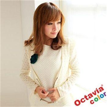 【Octavia Color】金色點點大V領珍珠扣公主外套-珠米