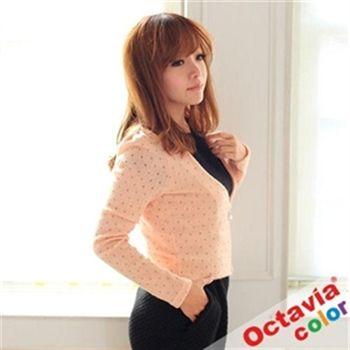 【Octavia Color】金色點點大V領珍珠扣公主外套-粉金