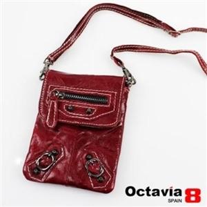OCTAVIA 8-真皮隨身輕輕油皮機車萬用小包 暗暗紅