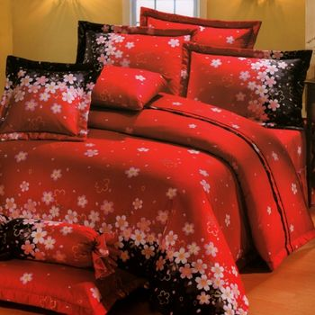 【KOSNEY】 花開富貴雙人活性精梳棉六件式床罩組台灣製