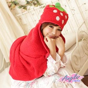 【天使霓裳】可愛草莓珊瑚絨造型懶人披肩懶人毯(紅)WW12910紅