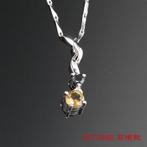 石頭記 甜美碧璽晶鑽純銀項鍊